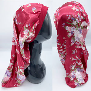 Wine Floral Headband Pocket Bonnet