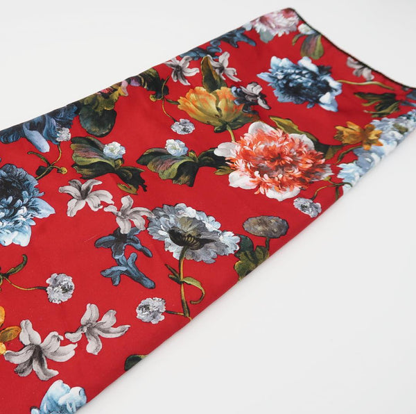 Wine Floral Blossom Satin Scarf