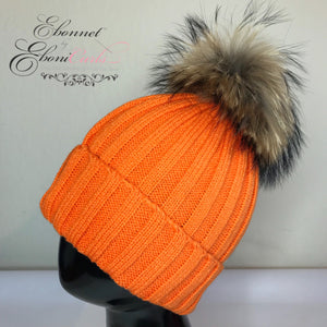 Orange Satin Lined Knit Hat