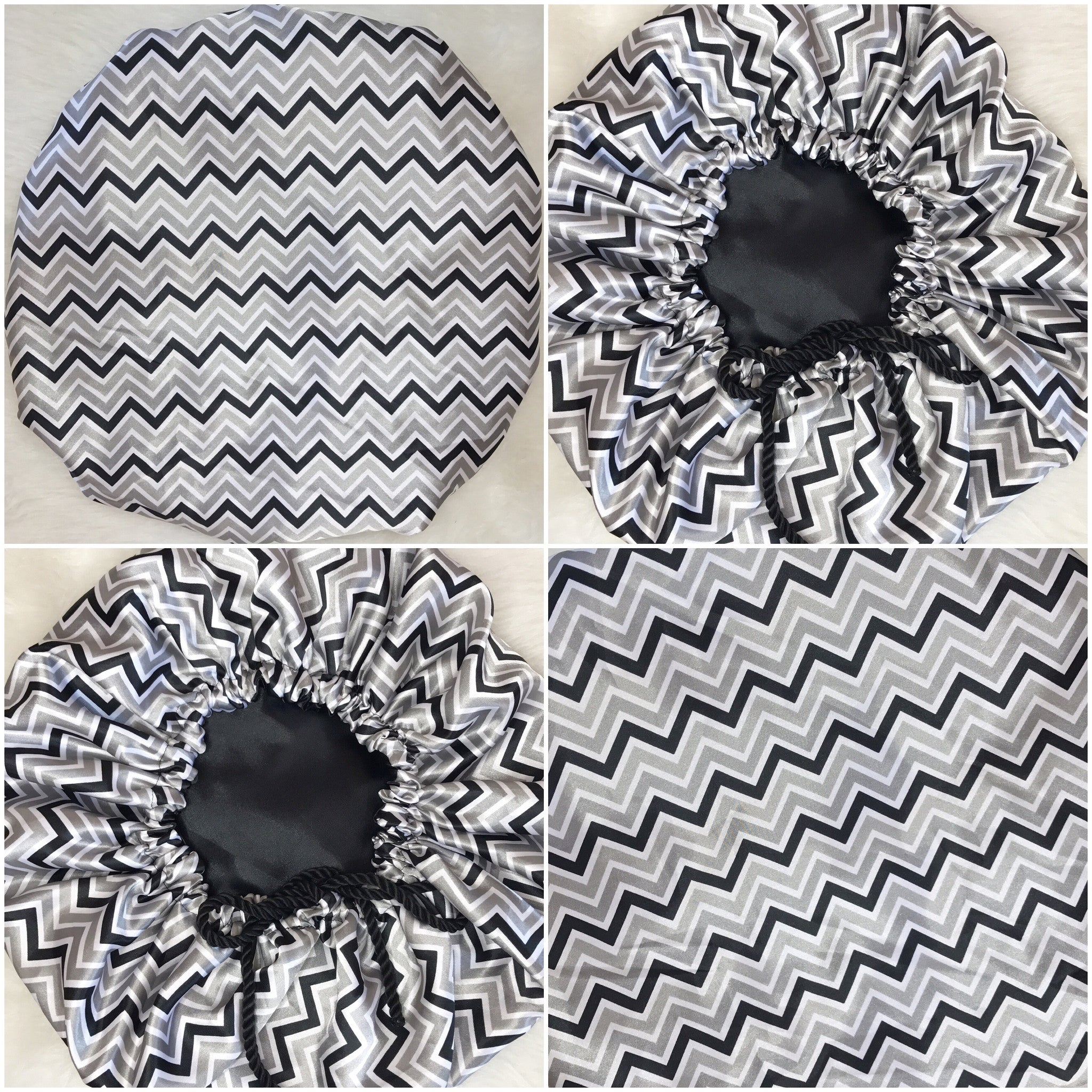 Black & Silver Chevron Bonnet