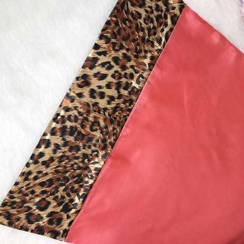 Coral & Golden Leopard Satin Pillowcase
