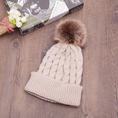 Cream Satin Lined Knit Hat