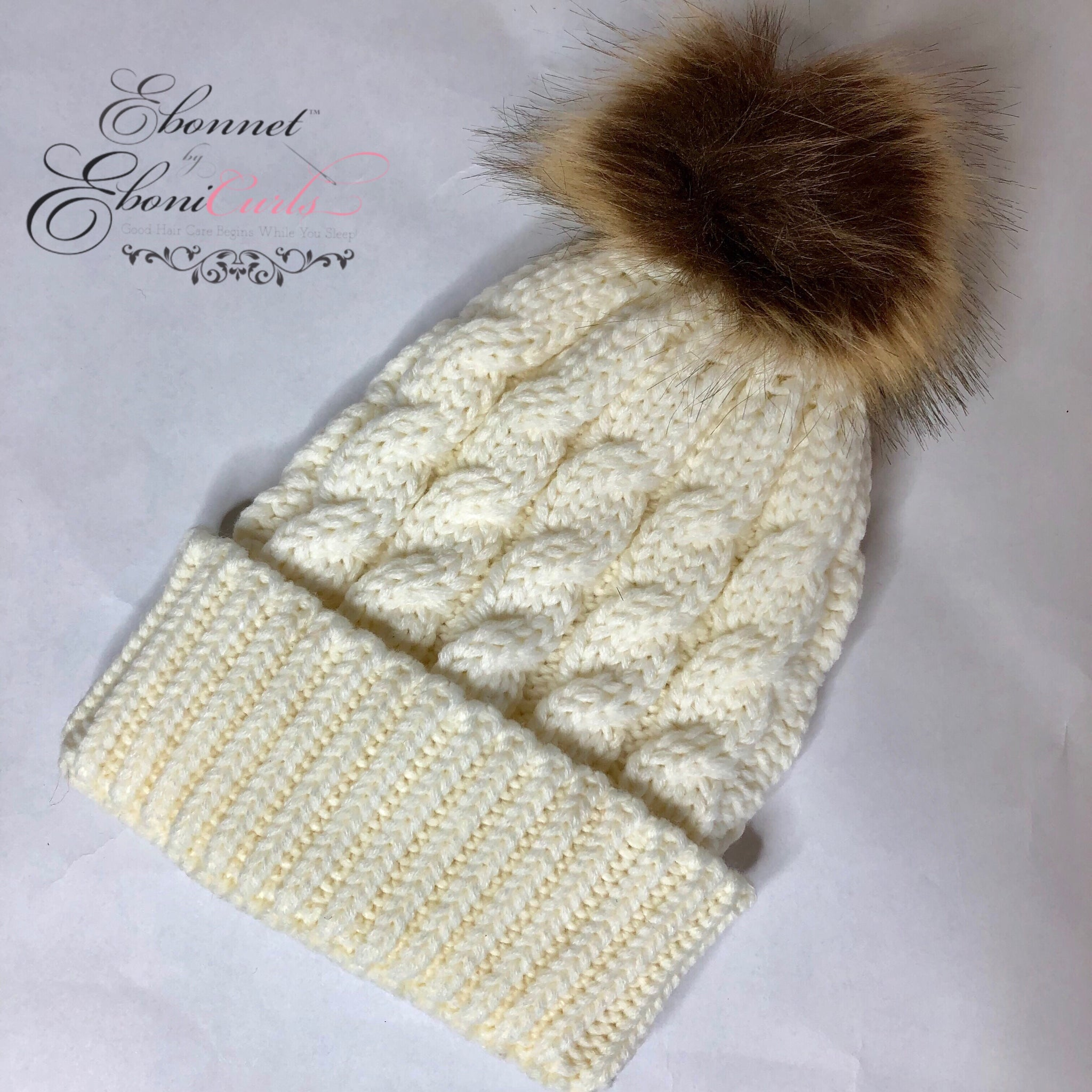 Kids Cream Satin Lined Winter Hat
