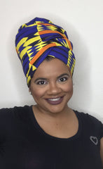 Blue & Yellow Kente Headwrap