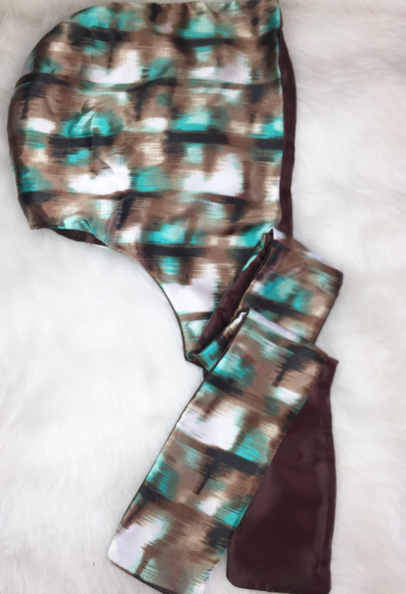 Teal & Chocolate Hooded Scarf