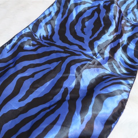 Blueberry Zebra Satin Rectangle Scarf