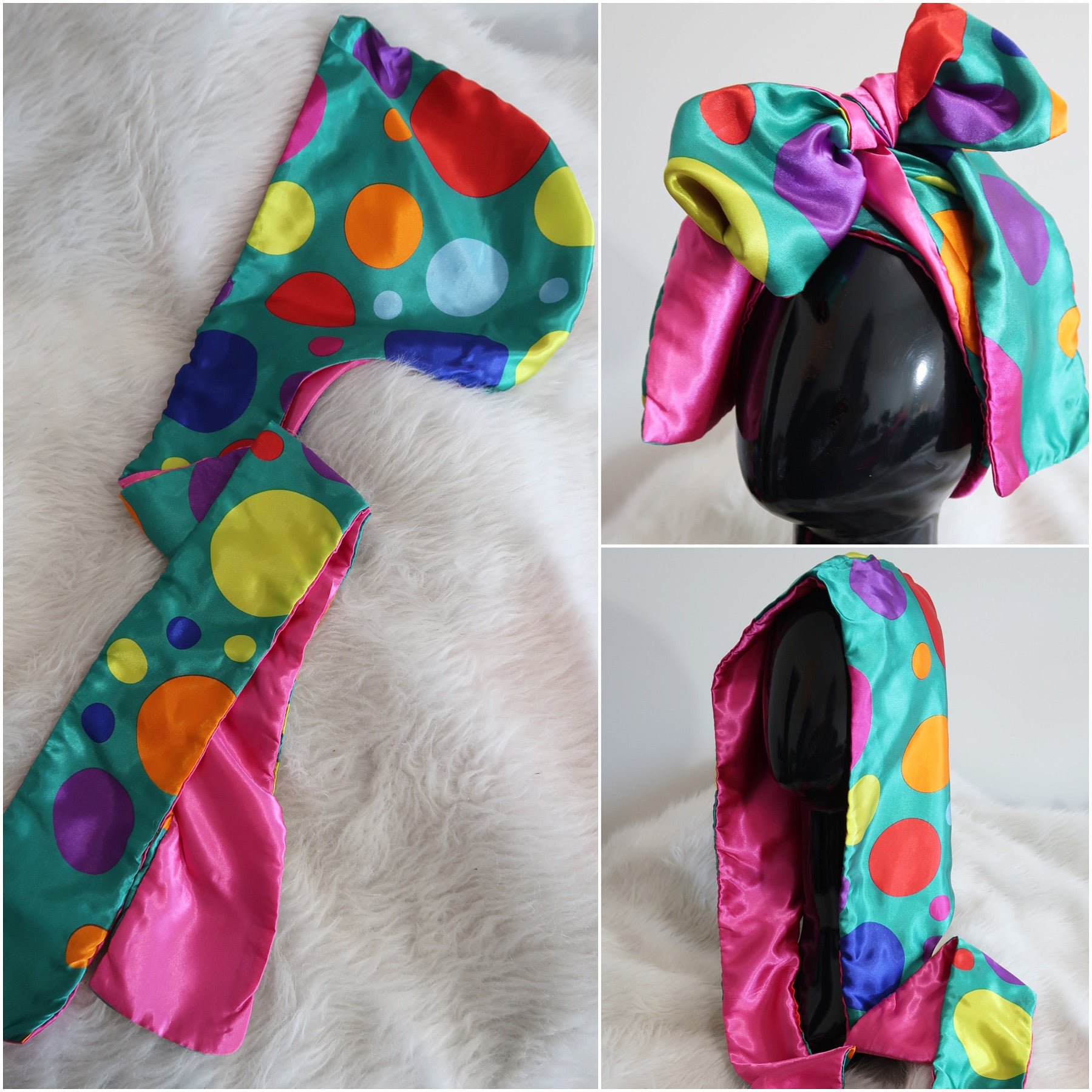 Teal Circus Dots Hooded Scarf