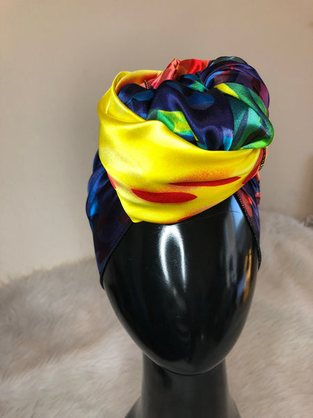 Multi Colored Satin Headwrap Scarf