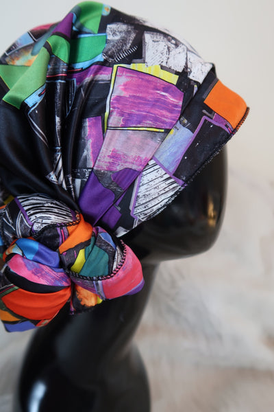 Black Multi Color Satin Rectangle Headwrap Scarf