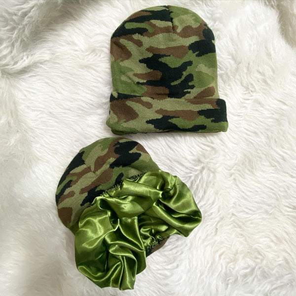 Camo Olive Satin Lined Knit Hat