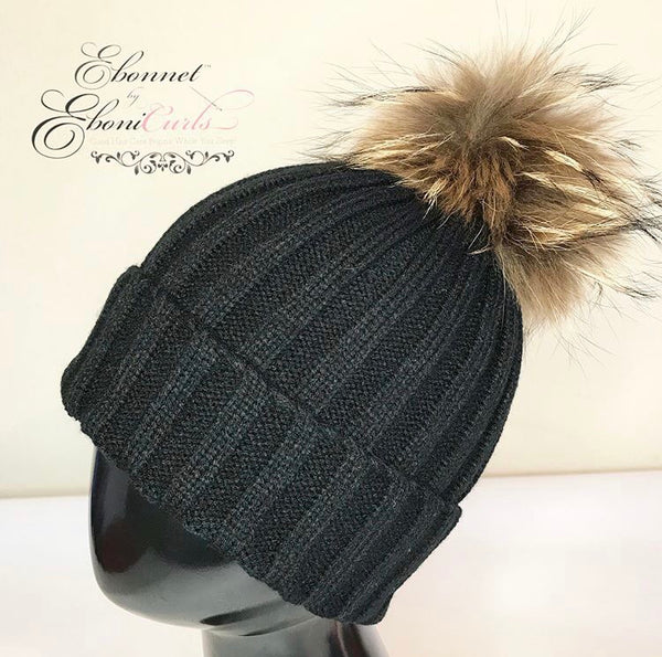 Black Satin Lined Knit Hat