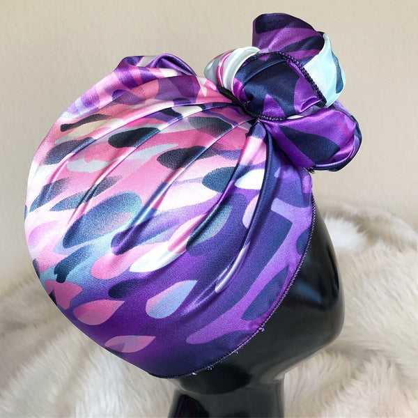 Purple Multi Color Satin Headwrap