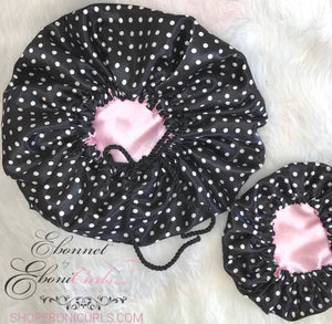 Mom & Baby Girl Black Polka Dot Set