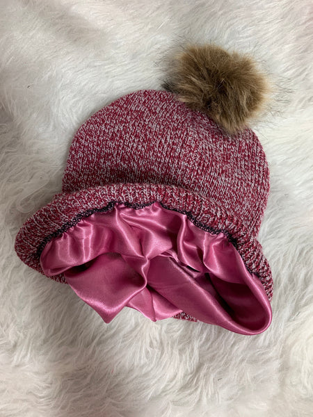 Burgundy satin lined knit hat