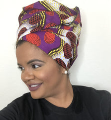 Royal Purple & Red Ethnic Headwrap