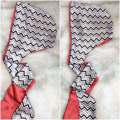 Black & Silver Chevron Hooded Scarf