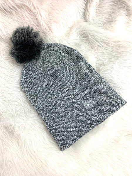 Charcoal Satin Lined knit Hat