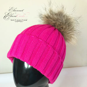 Pink Satin Lined Cable Knit Hat