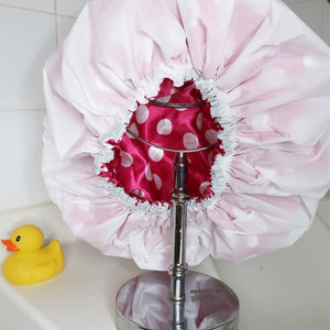 White & Fuchsia Polka Dot Shower Cap
