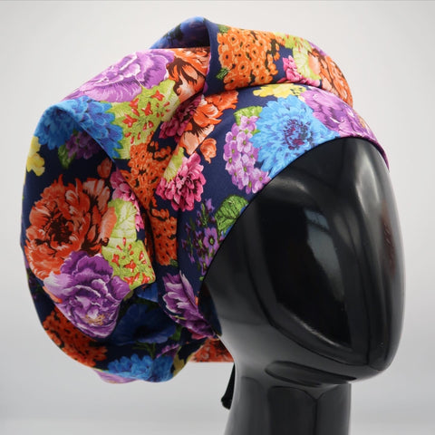 Navy Floral Bouffant