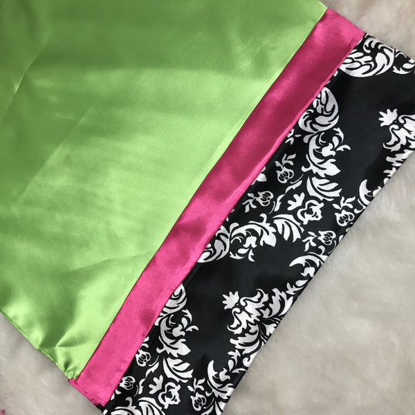 Lime Green & Pink Damask Pillowcase