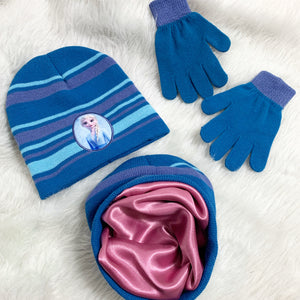 Kids Elsa satin lined hat & gloves