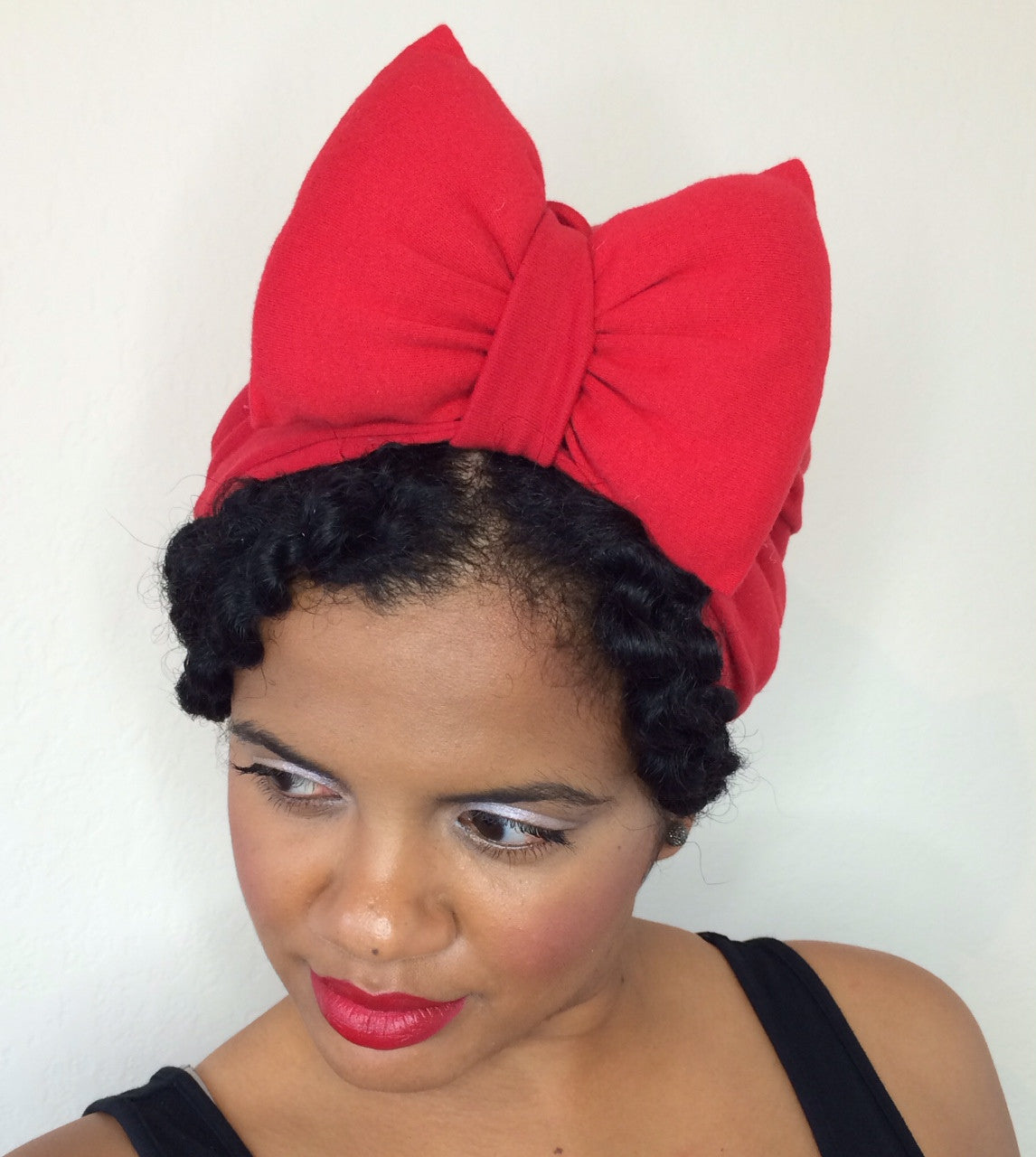 Solid Red Bow Turban