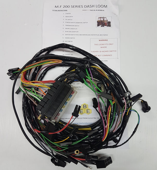 Tractor Dash Harness with Indicator and Hazard Switch Uncombined for Massey Ferguson 200 series.