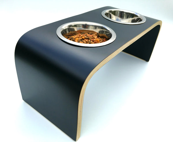 Dog Bowl Stand Raised Dog Feeder in Black Easy to Clean Non Slip
