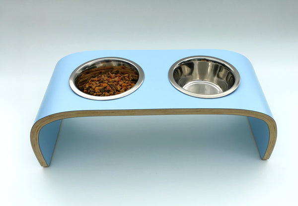 Raised Dog Feeder Dog Bowl Stand in Powder Blue Easy to Clean Non Slip