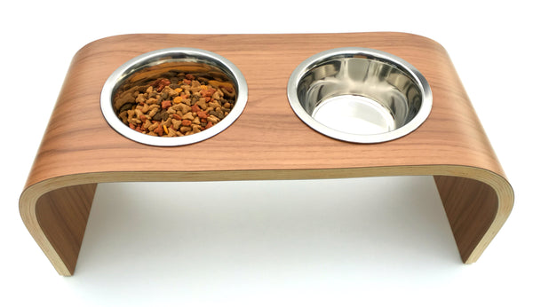 Raised Dog Feeder Wooden Dog Bowl Stand in Walnut Finish