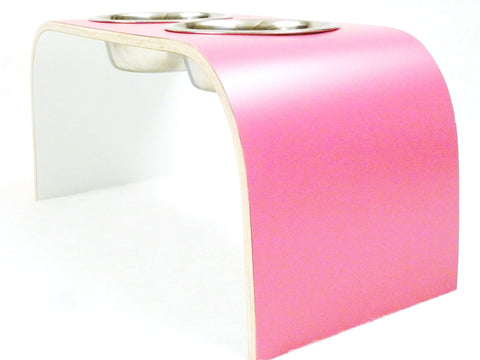 Raised Double Dog Bowls Wooden Pet Feeder in Pink & White Non-Slip Easy to Clean Design