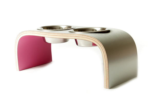 Aluminium and Pink Raised Double Dog Bowls Wooden Pet Feeder Non-Slip Easy to Clean Design
