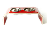 Dog Feeding Station Elevated Dog Bowls in Gloss Red Easy to Clean Non Slip