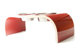 Red Gloss Dog Bowl Holder - Curved Design available in various sizes