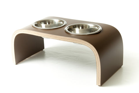 Raised Wooden Double Dog Bowl Stand in Chocolate Brown Non-Slip Easy to Clean Design