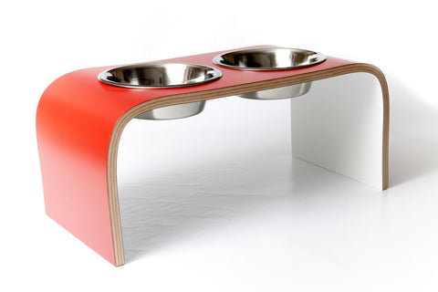 Elevated Dog Bowls Dog Feeding Station in Red and White Easy to Clean Non Slip