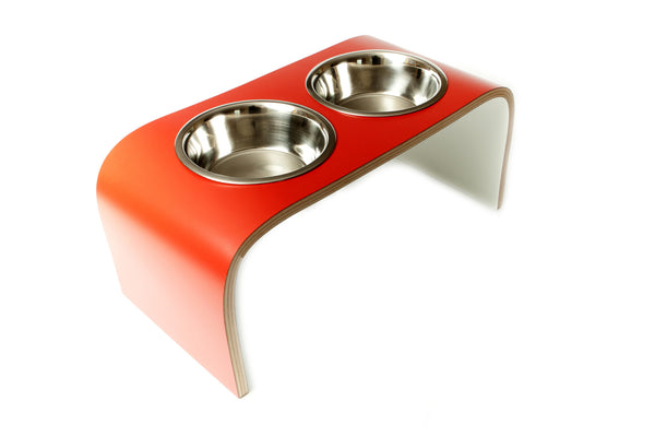 Red & White Raised Double Dog Bowls Pet Feeder Non-Slip Easy to Clean Design