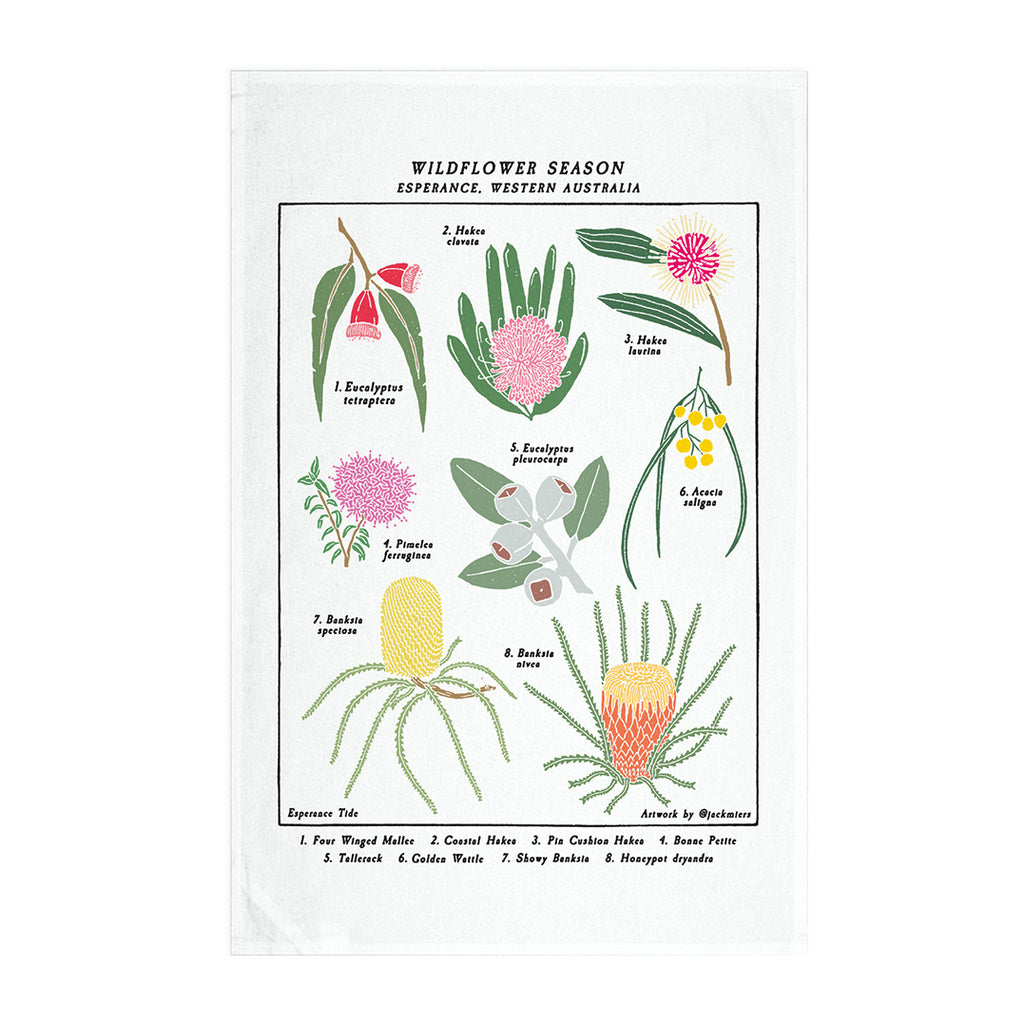Wildflower Season Linen Tea Towel