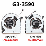 DELL G3-3590 CPU COOLING FAN CN-04NYWG & CN-0160GM 023.100G9.0013 & 023.100GA.0013