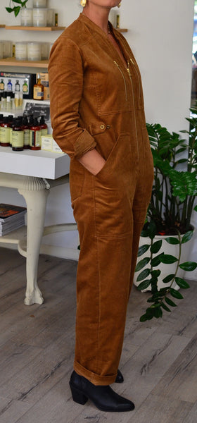 AMELIA CORDUROY JUMPSUIT - BROWN