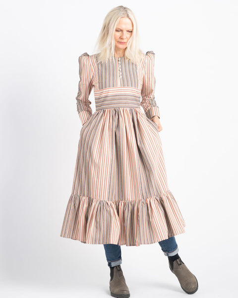 AUNT RUTH'S SATURDAY DRESS - DUBBY MULTI-STRIPE CREAM