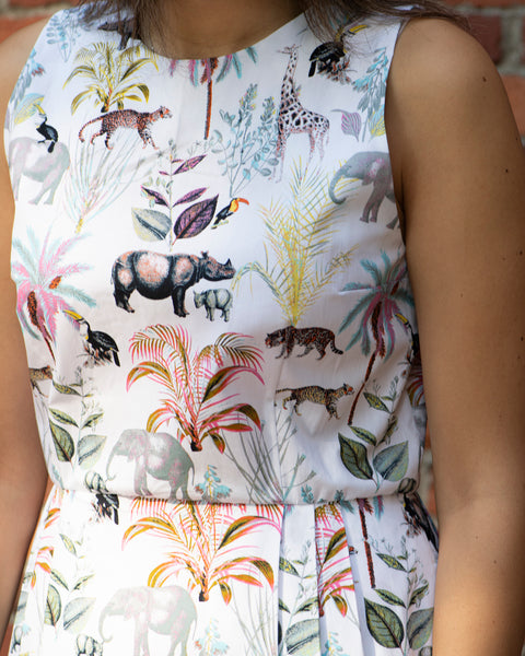 BOARDWALK SUMMER DRESS - WHITE (HAPPY JUNGLE)