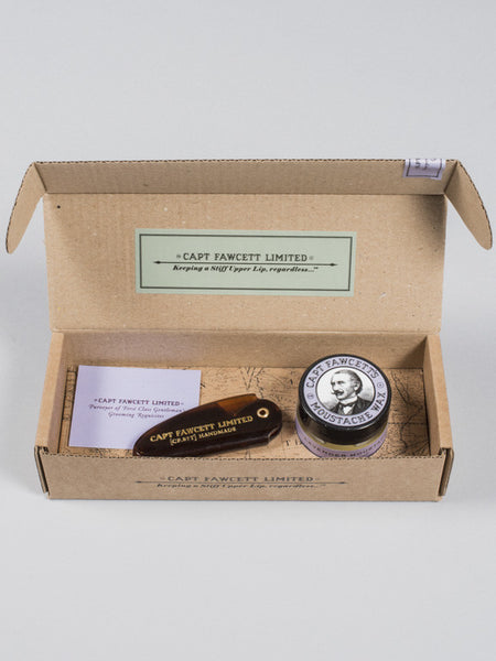 CAPT FAWCETT - MOUSTACHE WAX (LAVENDER) + FOLDING POCKET MOUSTACHE COMB