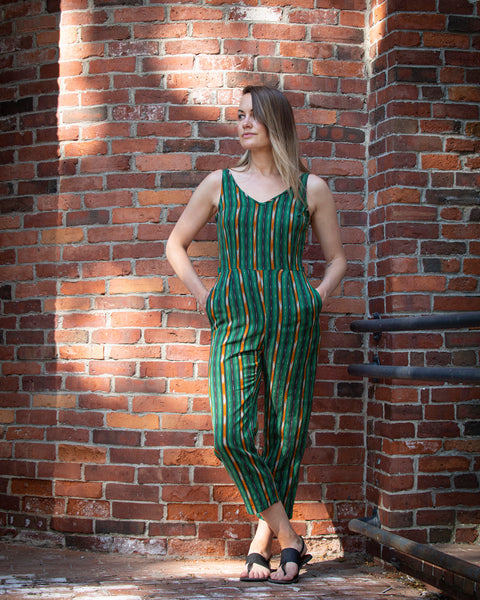 DELHI JUMPSUIT - GREEN STRIPES