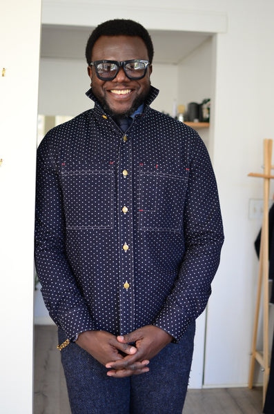 DENIM OVERSHIRT - POLKA DOTS