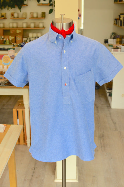 DIMITRI POP-OVER SS OXFORD SHIRT - BLUE