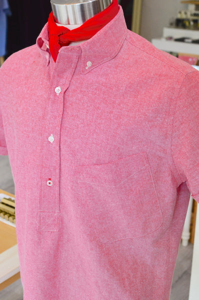DIMITRI POP-OVER SS OXFORD SHIRT - NANTUCKET RED