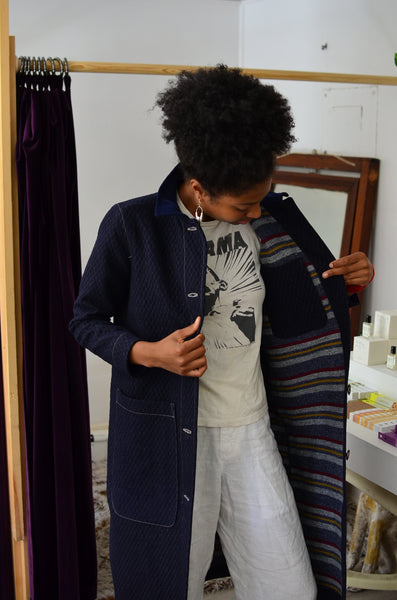 DUSTER COAT - QUILTED DENIM W/ BLANKET WOOL LINING