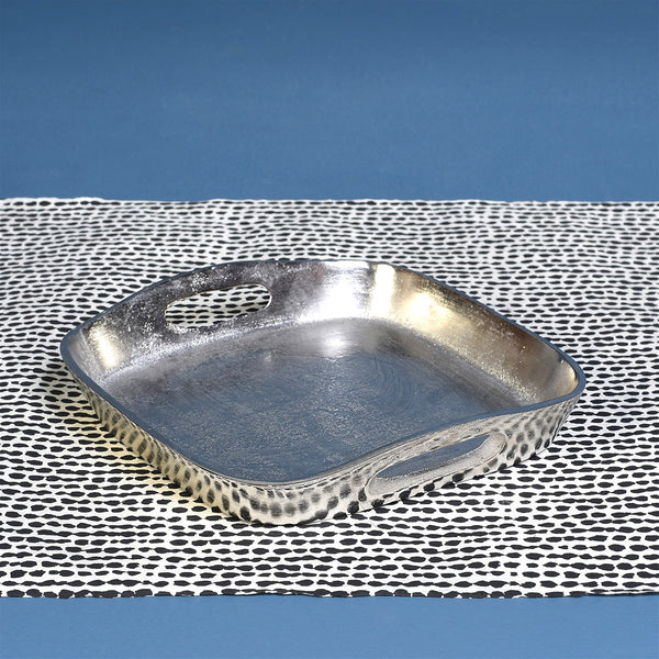 MACKENZIE SQUARE TRAY (MED) NICKEL